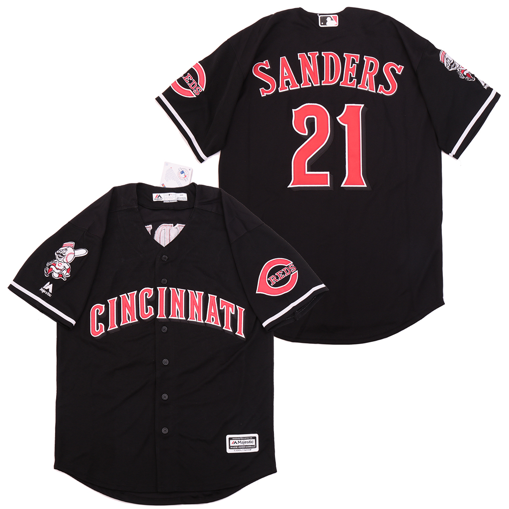 Reds 21 Deion Sanders Black Cool Base Jersey