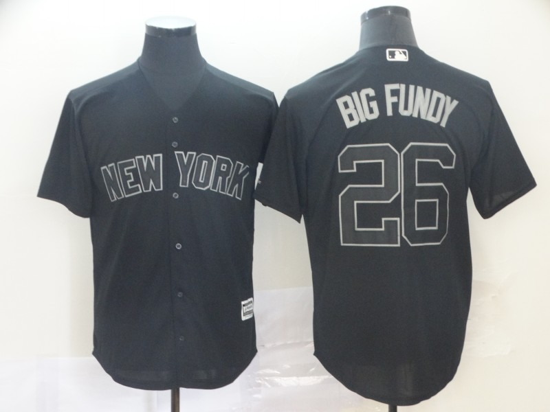 "Yankees 26 DJ LeMahieu ""Big Fundy"" Black 2019 Players' Weekend Player Jersey"