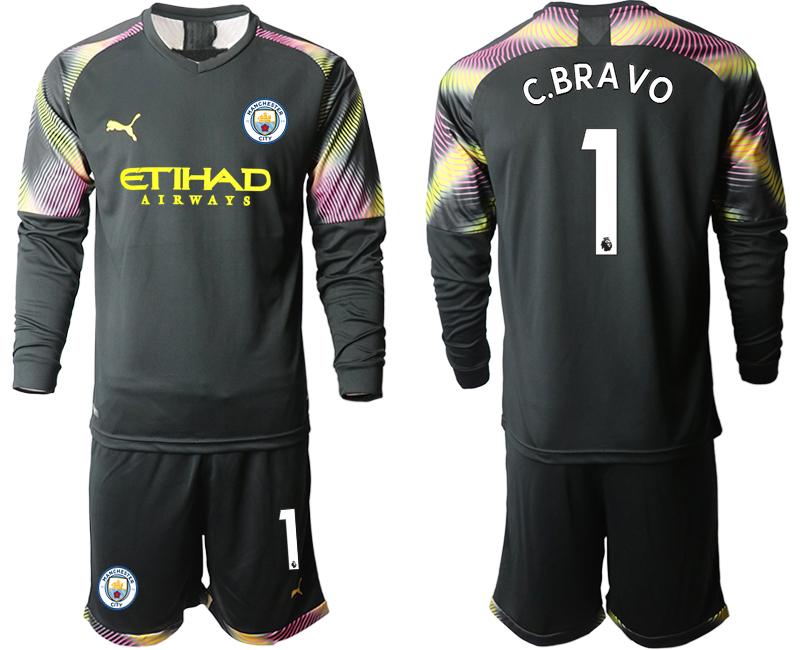 2019-20 Manchester City 1 C.BRAVO Black Goalkeeper Long Sleeve Soccer Jersey