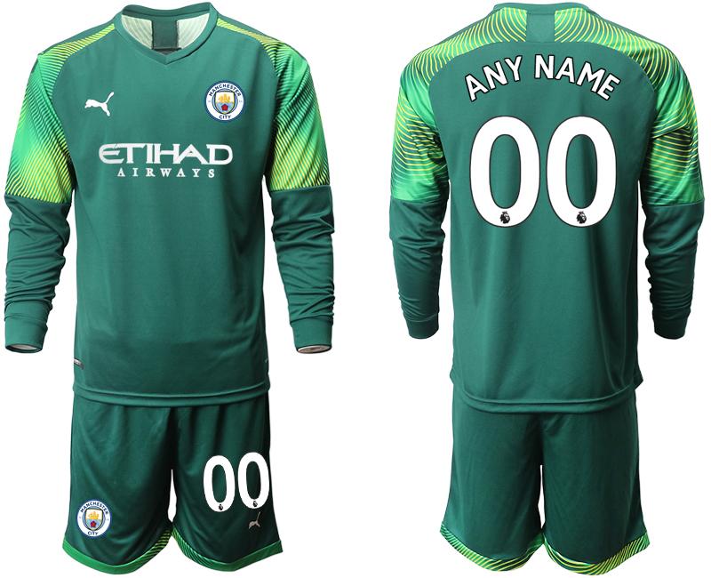 2019-20 Manchester City Customized Dark Green Goalkeeper Long Sleeve Soccer Jersey