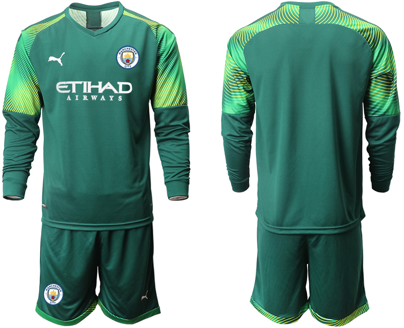 2019-20 Manchester City Dark Green Goalkeeper Long Sleeve Soccer Jersey