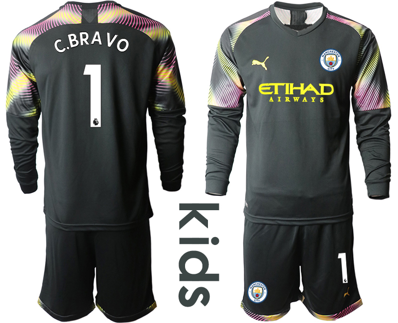 2019-20 Manchester City 1 C.BRAVO Black Goalkeeper Youth Long Sleeve Soccer Jersey