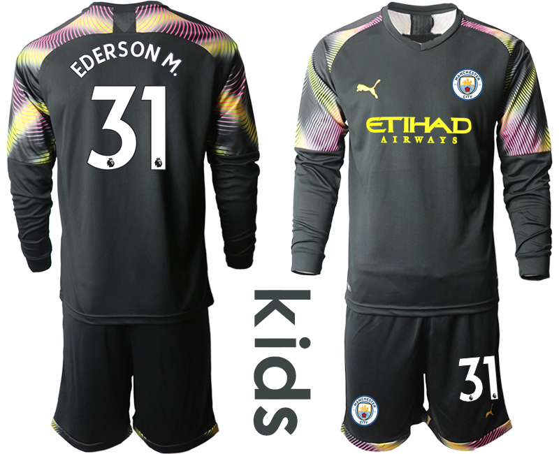 2019-20 Manchester City 31 EDERSON M. Black Goalkeeper Youth Long Sleeve Soccer Jersey