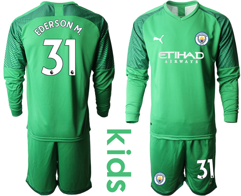 2019-20 Manchester City 31 EDERSON M. Green Goalkeeper Youth Long Sleeve Soccer Jersey