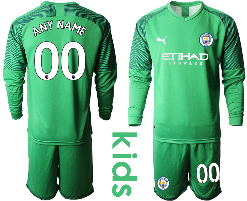 2019-20 Manchester City Customized Green Goalkeeper Youth Long Sleeve Soccer Jersey