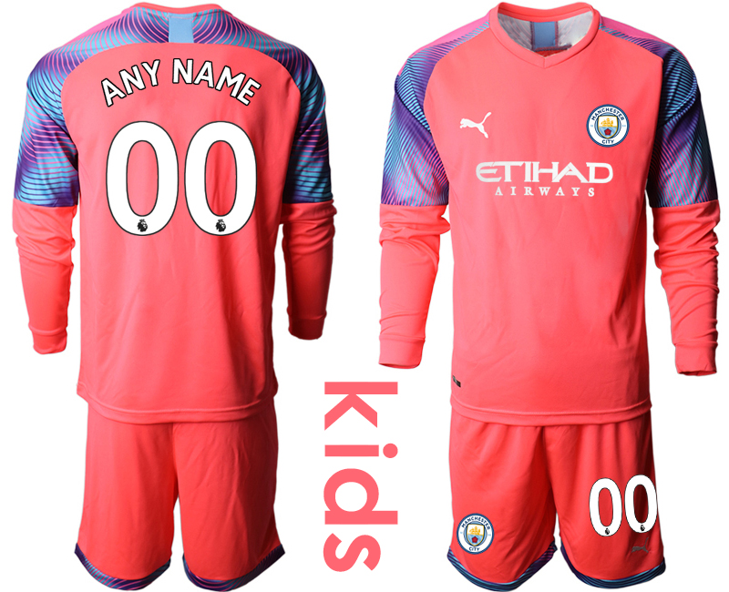 2019-20 Manchester City Customized Pink Goalkeeper Youth Long Sleeve Soccer Jersey