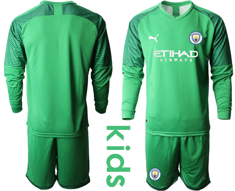 2019-20 Manchester City Green Goalkeeper Youth Long Sleeve Soccer Jersey