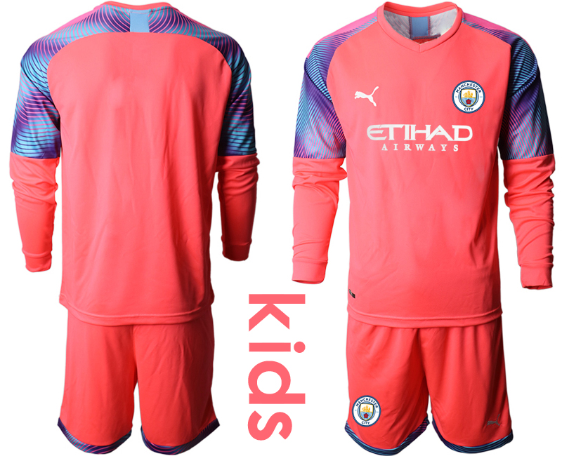 2019-20 Manchester City Pink Goalkeeper Youth Long Sleeve Soccer Jersey