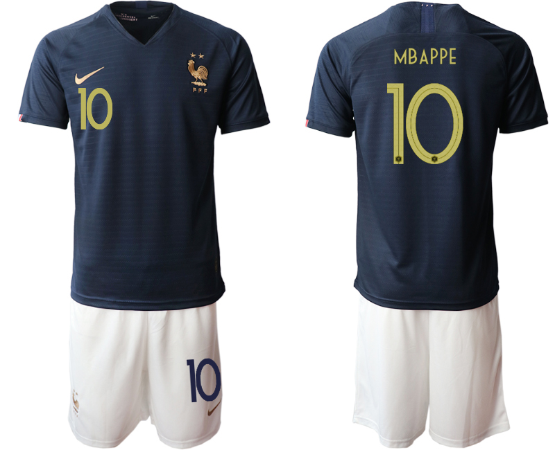 2019-20 France 10 MBAPPE Home Soccer Jersey