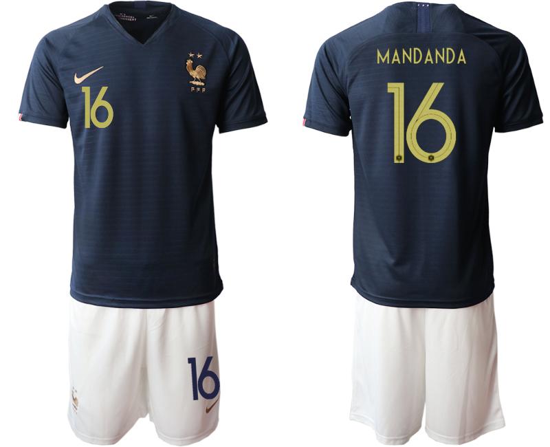 2019-20 France 16 MANDANDA Home Soccer Jersey