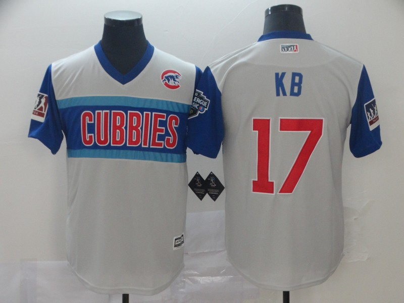 "Cubs 17 Kris Bryant ""Kb"" Gray 2019 MLB Little League Classic Player Jersey"