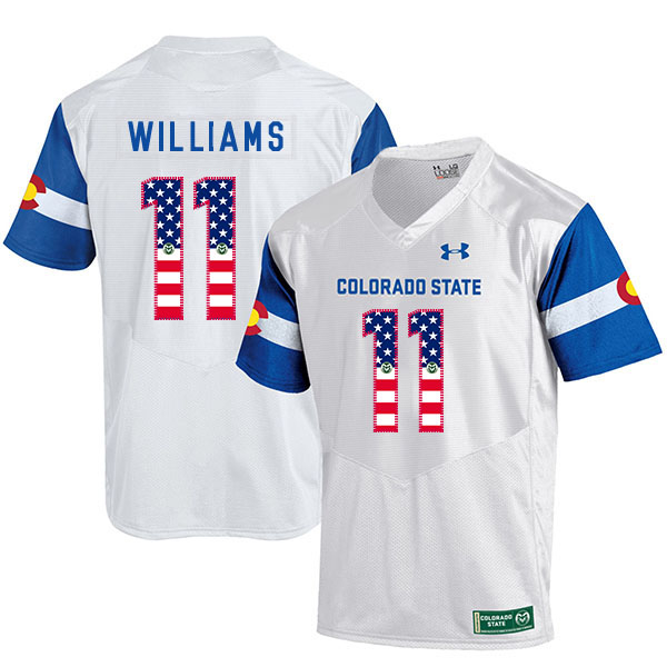 Colorado State Rams 11 Preston Williams White USA Flag College Football Jersey