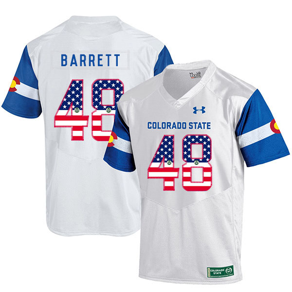 Colorado State Rams 48 Shaquil Barrett White USA Flag College Football Jersey