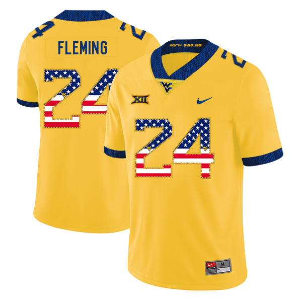 West Virginia Mountaineers 24 Maurice Fleming Yellow USA Flag College Football Jersey