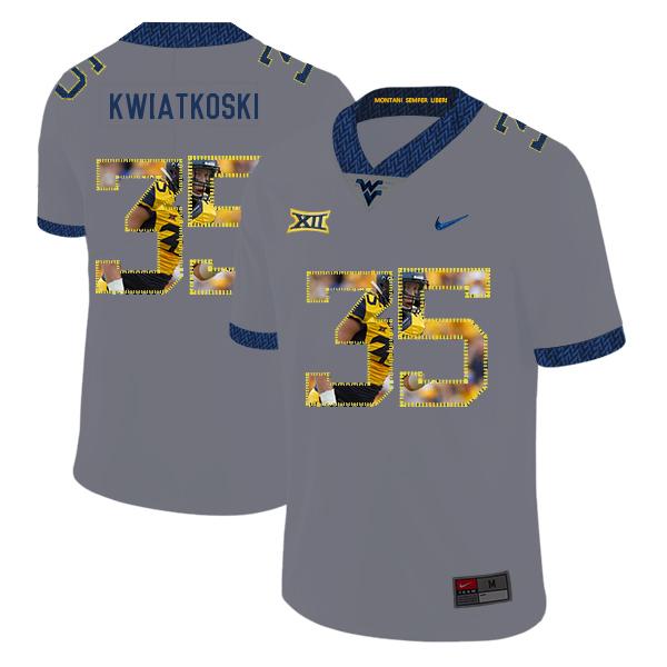 West Virginia Mountaineers 35 Nick Kwiatkoski Gray Fashion College Football Jersey