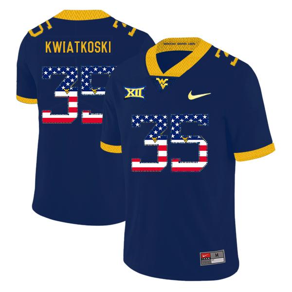West Virginia Mountaineers 35 Nick Kwiatkoski Navy USA Flag College Football Jersey