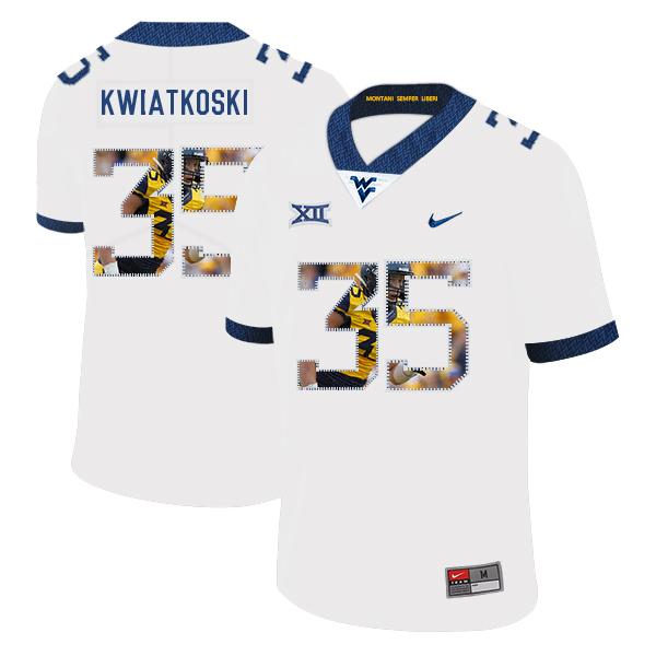 West Virginia Mountaineers 35 Nick Kwiatkoski White Fashion College Football Jersey