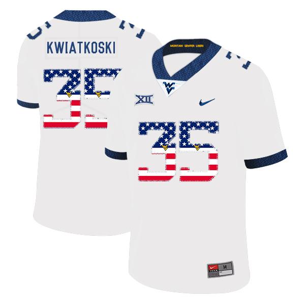 West Virginia Mountaineers 35 Nick Kwiatkoski White USA Flag College Football Jersey
