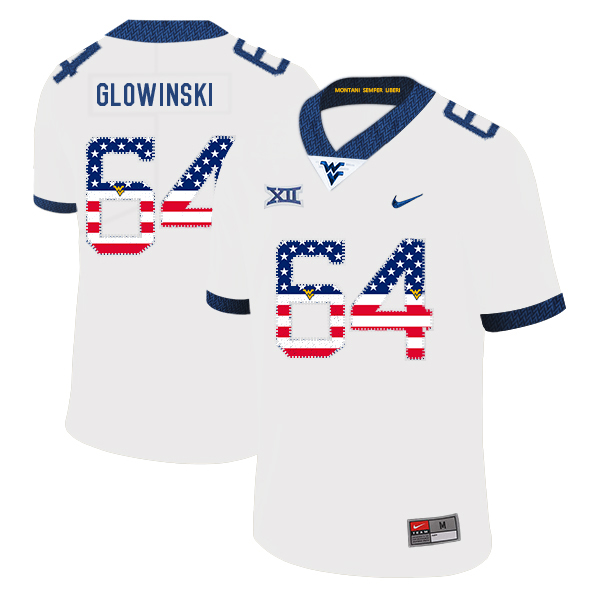 West Virginia Mountaineers 64 Mark Glowinski White USA Flag College Football Jersey