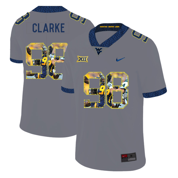 West Virginia Mountaineers 98 Will Clarke Gray Fashion College Football Jersey