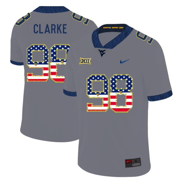 West Virginia Mountaineers 98 Will Clarke Gray USA Flag College Football Jersey