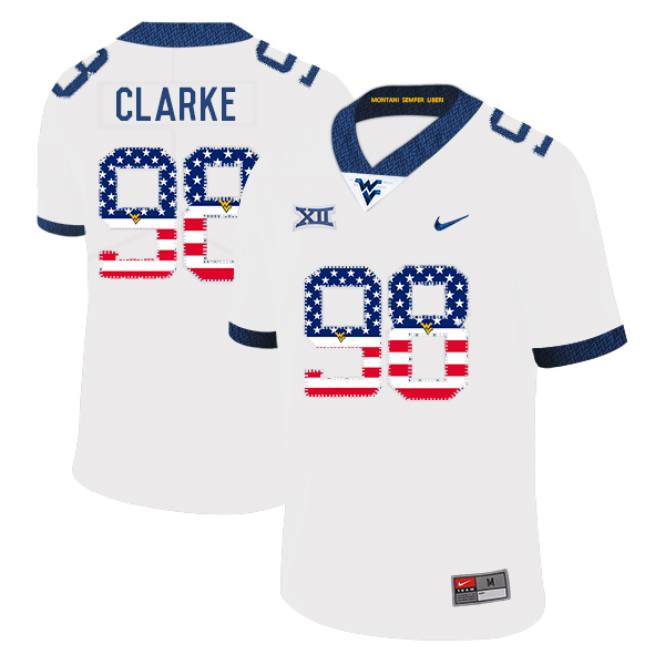 West Virginia Mountaineers 98 Will Clarke White USA Flag College Football Jersey