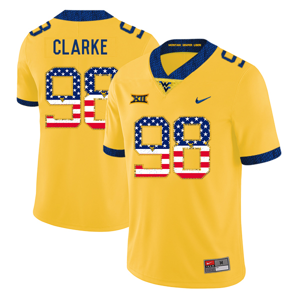 West Virginia Mountaineers 98 Will Clarke Yellow USA Flag College Football Jersey