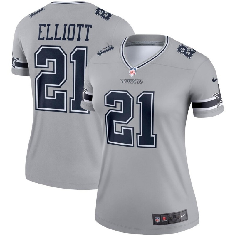 Nike Cowboys 21 Ezekiel Elliott Gray Women Inverted Legend Jersey
