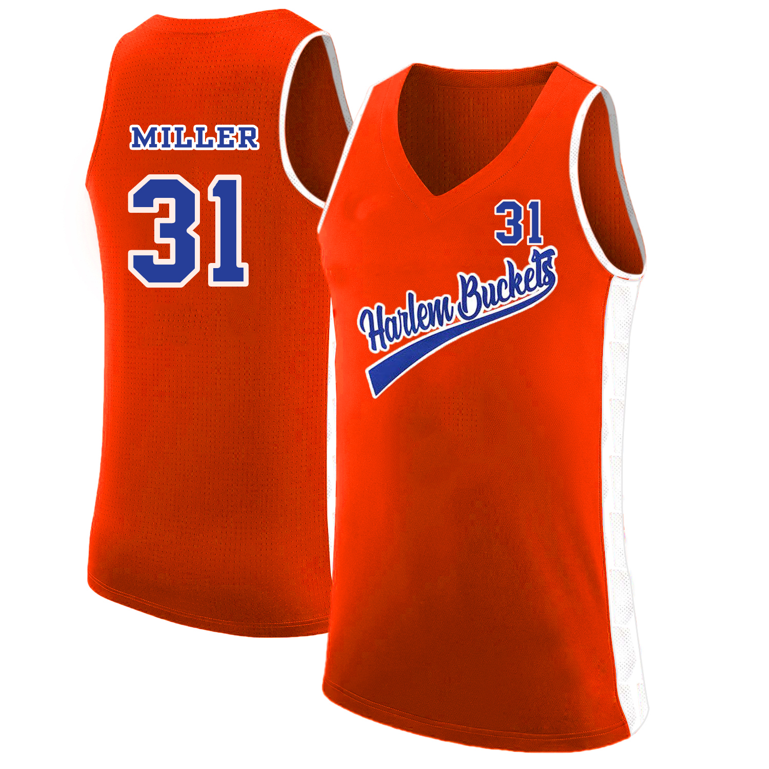 Harlem Buckets 31 Reggie Miller Orange Uncle Drew Basketball Jersey