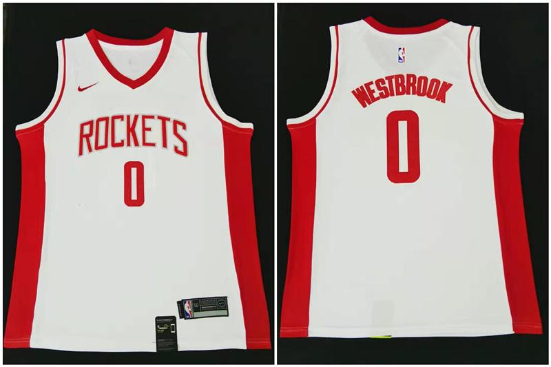 Rockets 0 Russell Westbrook White Nike Swingman Jersey