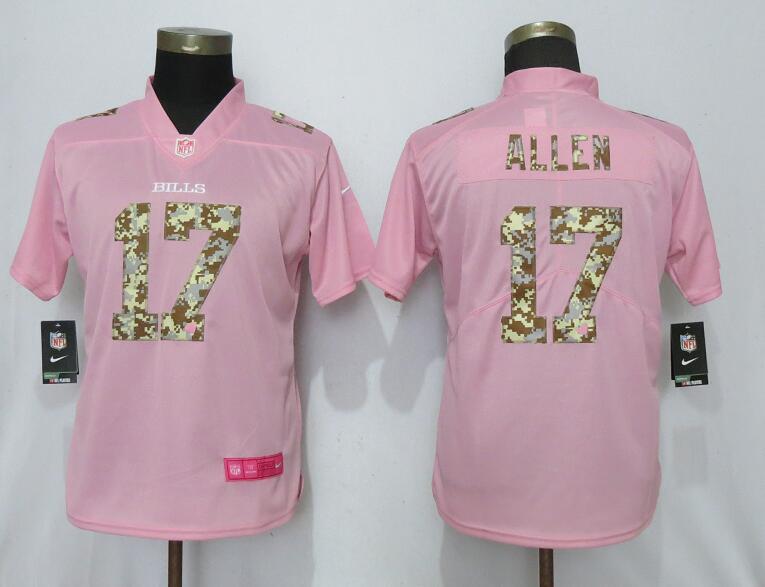 Nike Bills 17 Josh Allen Pink Camo Fashion Women Limited Jersey