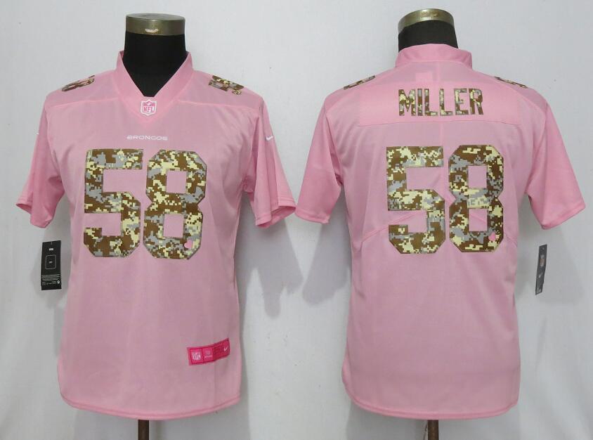 Nike Broncos 58 Von Miller Pink Camo Fashion Women Limited Jersey