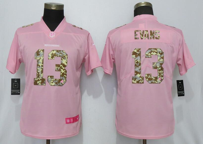 Nike Buccaneers 13 Mike Evans Pink Camo Fashion Women Limited Jersey