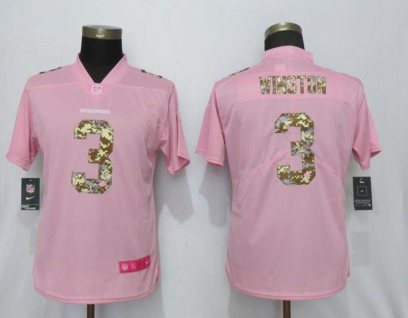 Nike Buccaneers 3 Jameis Winston Pink Camo Fashion Women Limited Jersey