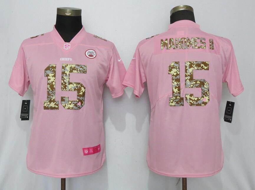 Nike Chiefs 15 Patrick Mahomes II Pink Camo Fashion Women Limited Jersey