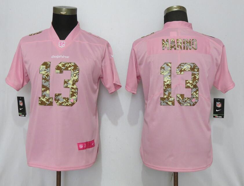 Nike Dolphins 13 Dan Marino Pink Camo Fashion Women Limited Jersey