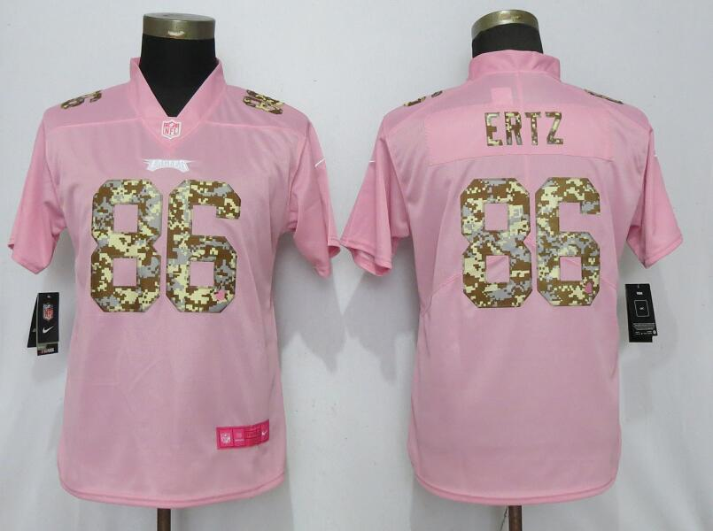Nike Eagles 86 Zach Ertz Pink Camo Fashion Women Limited Jersey