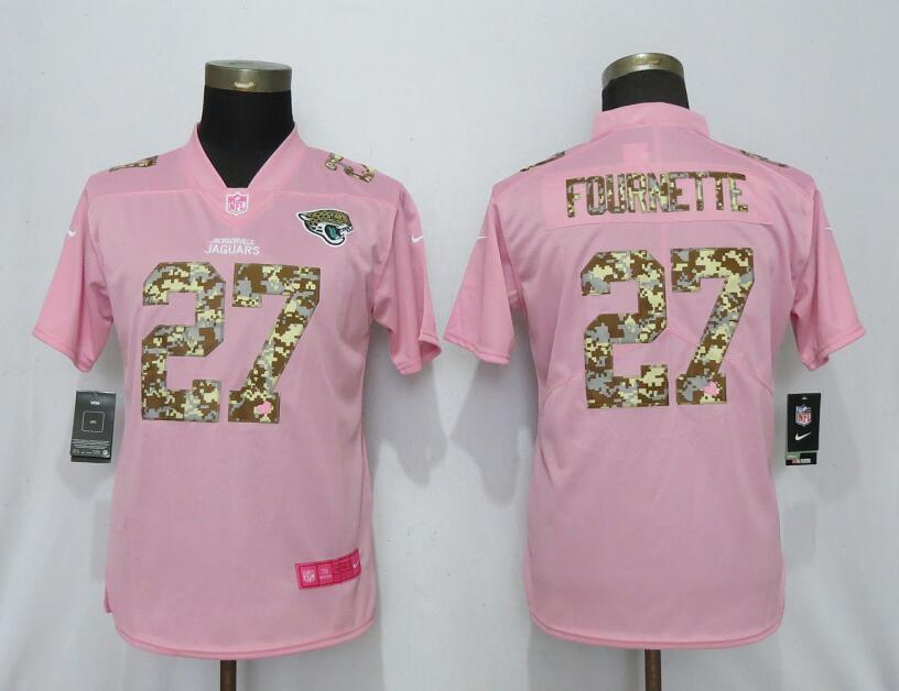 Nike Jaguars 27 Leonard Fournette Pink Camo Fashion Women Limited Jersey