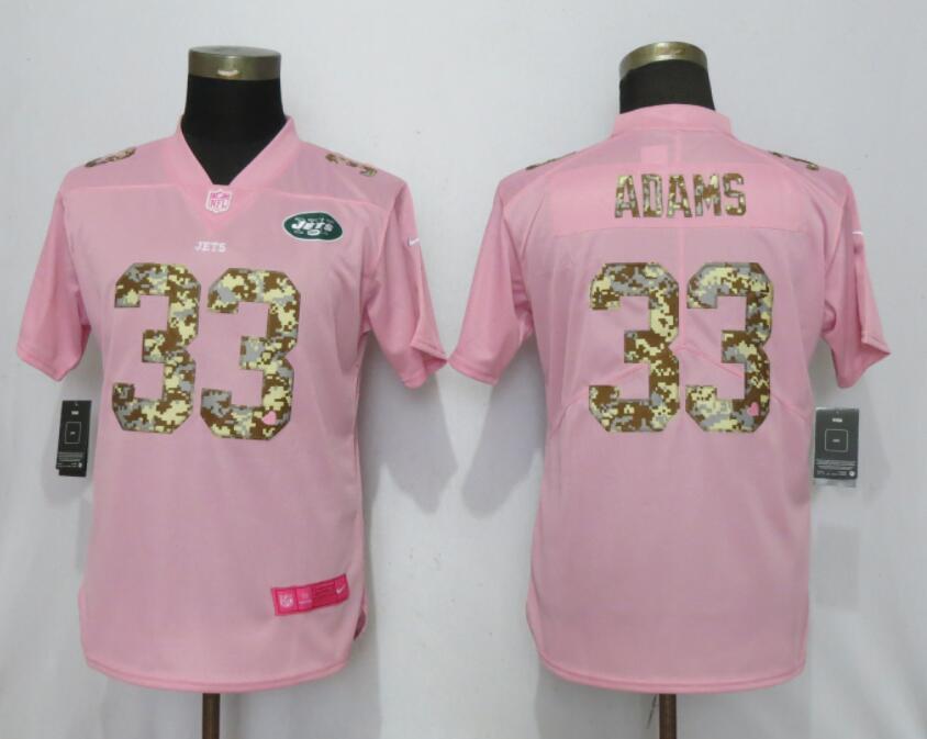 Nike Jets 33 Jamal Adams Pink Camo Fashion Women Limited Jersey
