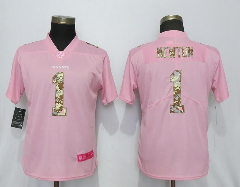 Nike Panthers 1 Cam Newton Pink Camo Fashion Women Limited Jersey