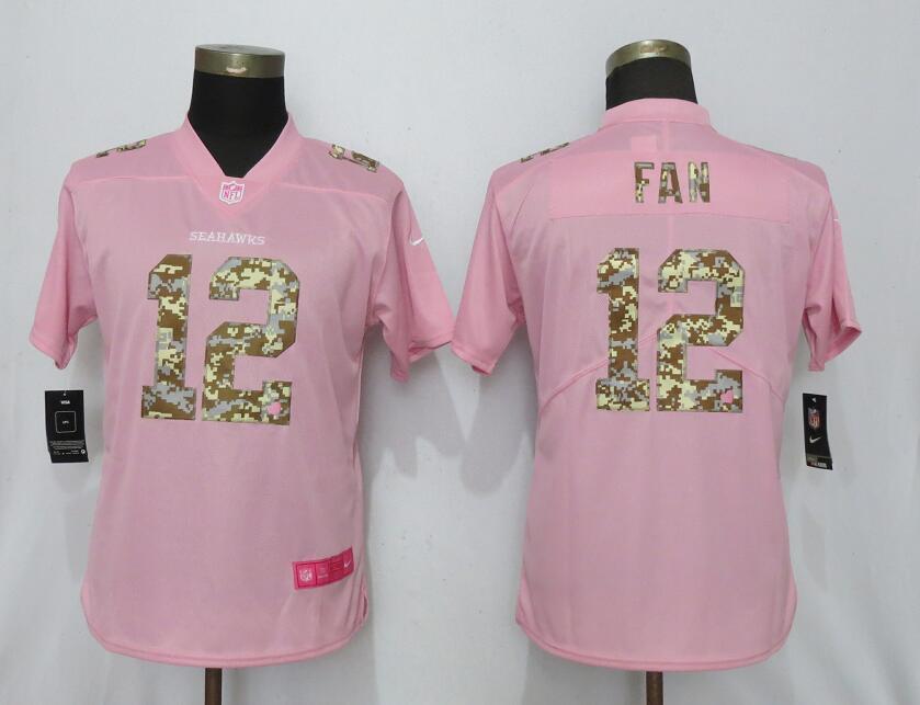 Nike Seahawks 12 Fan Pink Camo Fashion Women Limited Jersey