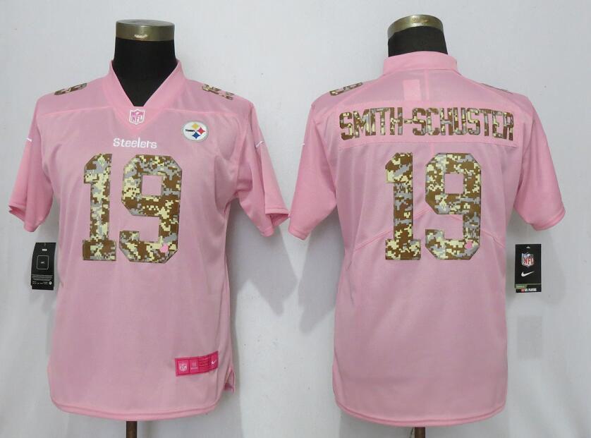 Nike Steelers 19 JuJu Smith Schuster Pink Camo Fashion Women Limited Jersey