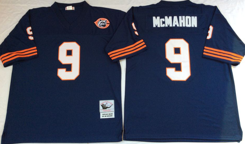 Bears 9 Jim McMahon Navy 1985 M&N Throwback Jersey