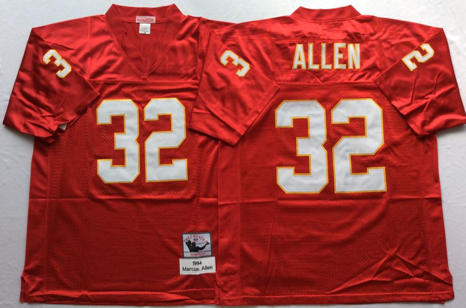 Chiefs 32 Marcus Allen Red M&N Throwback Jersey