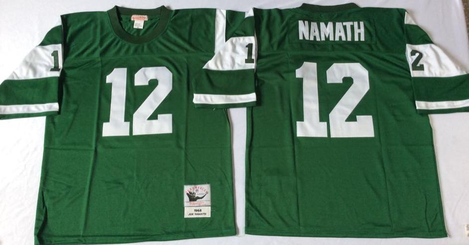 Jets 12 Joe Namath Green M&N Throwback Jersey