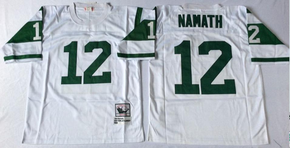Jets 12 Joe Namath White M&N Throwback Jersey
