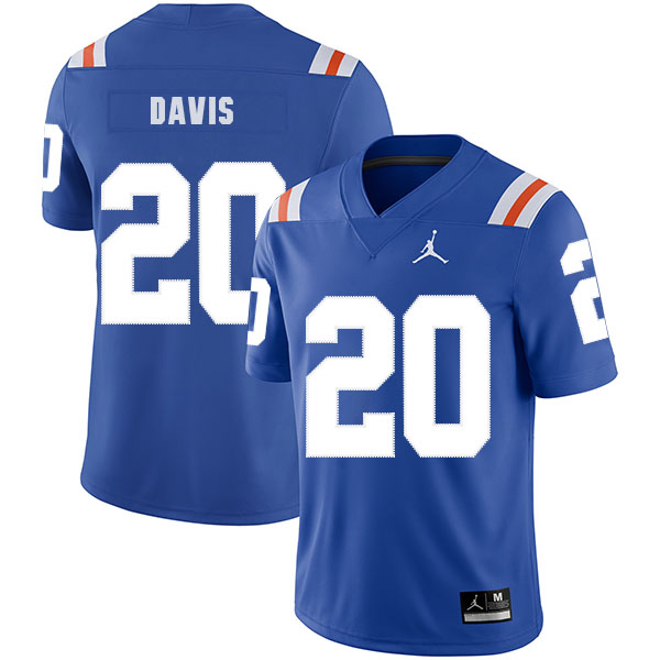 Florida Gators 20 Malik Davis Blue Throwback College Football Jersey