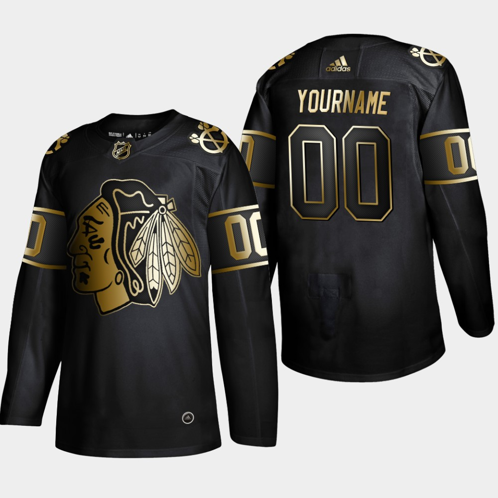 Blackhawks Customized Black Gold Adidas Jersey
