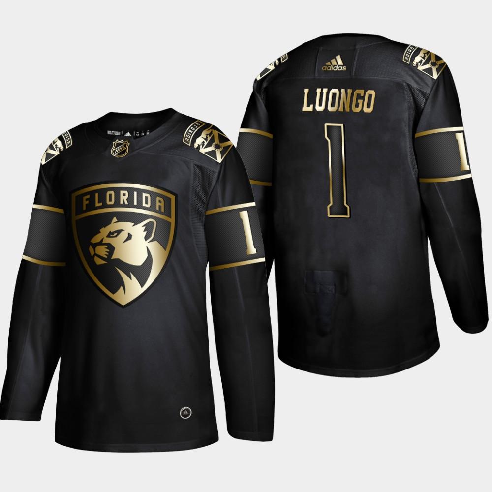 Panthers 1 Roberto Luongo Black Gold Adidas Jersey