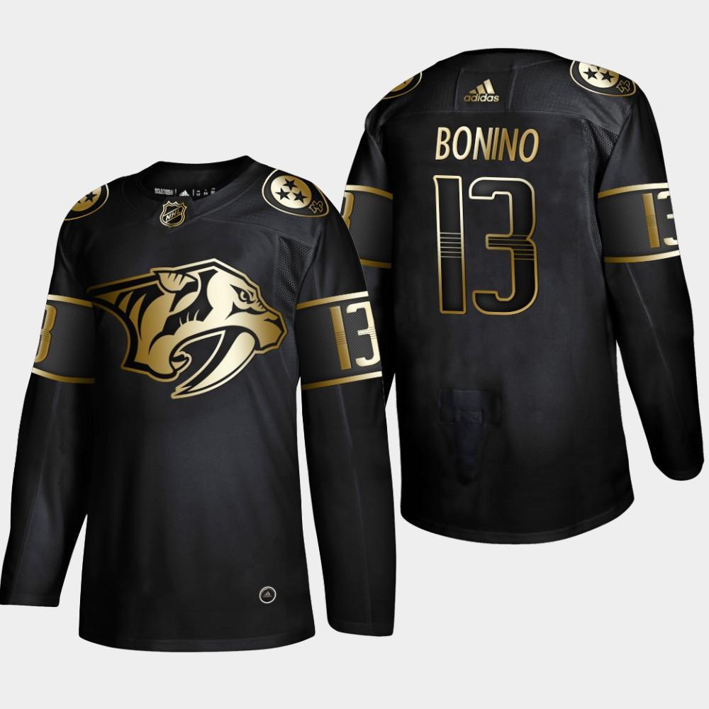 Panthers 13 Nick Bonino Black Gold Adidas Jersey